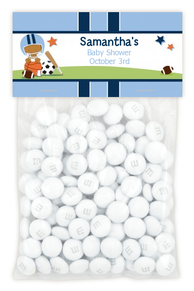 Sports Baby African American - Custom Baby Shower Treat Bag Topper