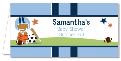 Sports Baby African American - Personalized Baby Shower Place Cards