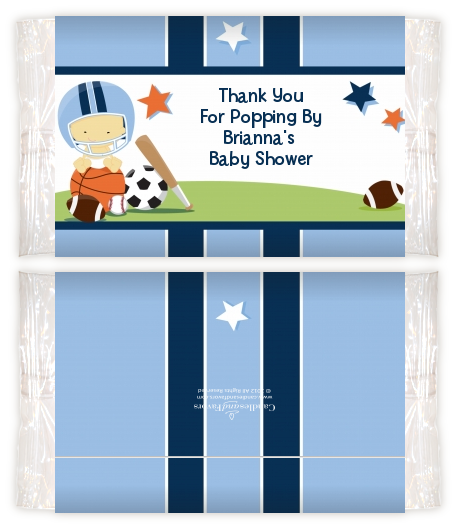 Sports Baby Asian Baby Shower Popcorn Wrappers Baby Shower Popcorn