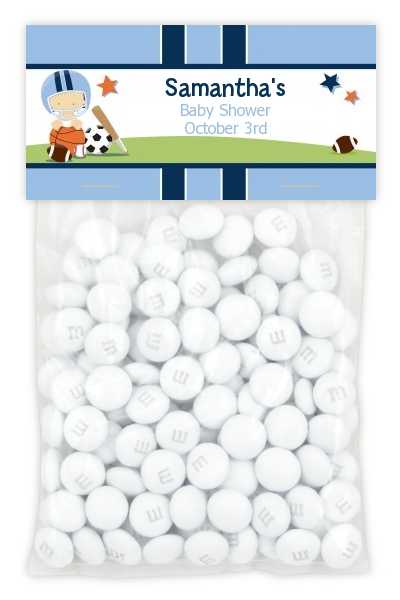 Sports Baby Caucasian - Custom Baby Shower Treat Bag Topper