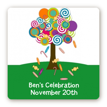 Candy Tree - Square Personalized Birthday Party Sticker Labels