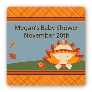 Little Turkey Girl - Square Personalized Baby Shower Sticker Labels