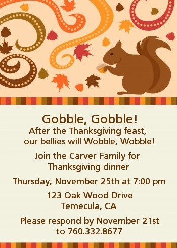 Acorn Harvest Fall Theme - Thanksgiving Invitations