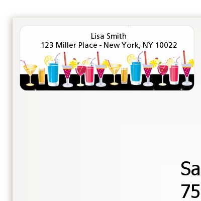 Stock the Bar Cocktails - Bachelorette Party Return Address Labels