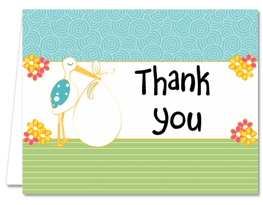 Stork Neutral - Baby Shower Thank You Cards