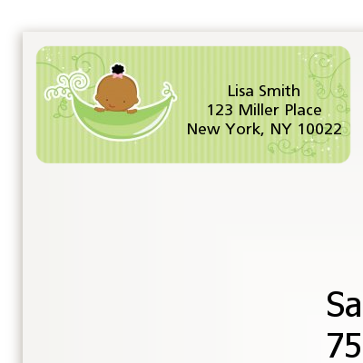 Sweet Pea African American Girl - Baby Shower Return Address Labels