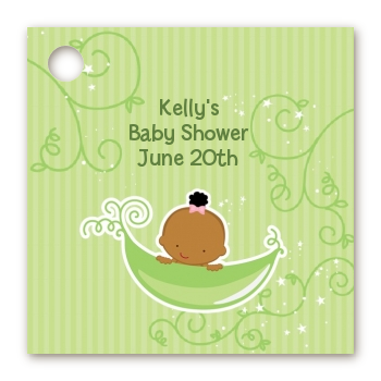Sweet Pea African American Girl - Personalized Baby Shower Card Stock Favor Tags
