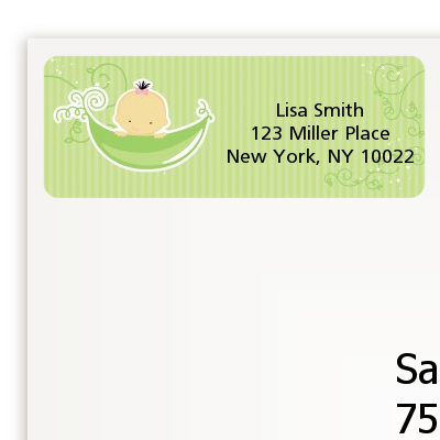 Sweet Pea Asian Girl - Baby Shower Return Address Labels