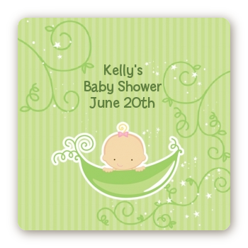 Sweet Pea Caucasian Girl - Square Personalized Baby Shower Sticker Labels