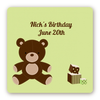 Teddy Bear - Square Personalized Birthday Party Sticker Labels Neutral