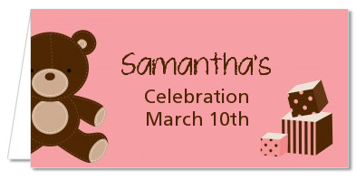 Teddy Bear Pink - Personalized Baby Shower Place Cards