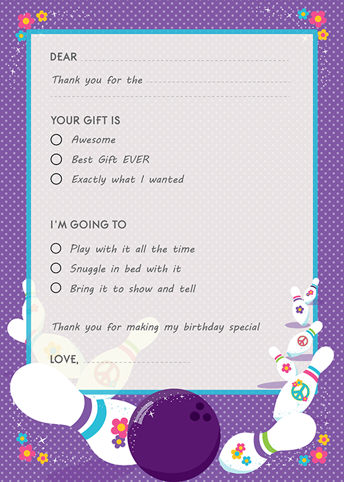 Bowling Party Birthday Party Fill In Thank You Cards