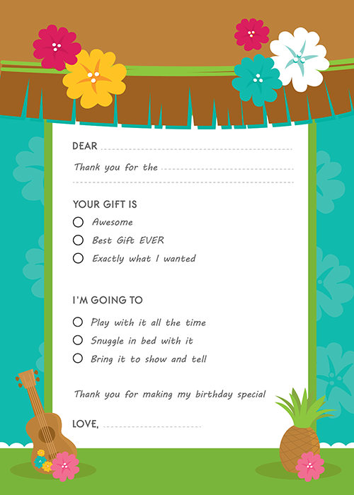 Luau Friends Birthday Party Fill In Thank You Cards
