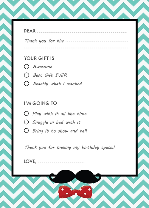 Mustache Bash Birthday Party Fill In Thank You Cards