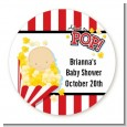 About To Pop - Round Personalized Baby Shower Sticker Labels thumbnail