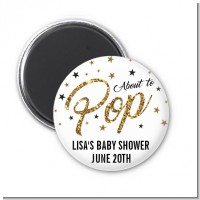 About To Pop Glitter - Personalized Baby Shower Magnet Favors