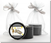 About To Pop Gold Glitter - Baby Shower Black Candle Tin Favors