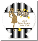 About To Pop Gold Glitter - Personalized Baby Shower Centerpiece Stand
