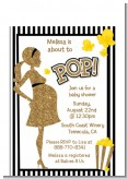 About To Pop Gold Glitter - Baby Shower Petite Invitations