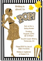 About To Pop Gold Glitter - Baby Shower Invitations
