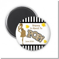 About To Pop Gold Glitter - Personalized Baby Shower Magnet Favors