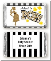 About To Pop Gold Glitter - Personalized Baby Shower Mini Candy Bar Wrappers