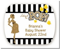 About To Pop Gold Glitter - Personalized Baby Shower Rounded Corner Stickers
