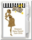 About To Pop Gold Glitter - Baby Shower Personalized Notebook Favor