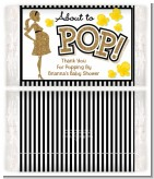 About To Pop Gold Glitter - Personalized Popcorn Wrapper Baby Shower Favors