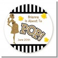 About To Pop Gold Glitter - Round Personalized Baby Shower Sticker Labels thumbnail