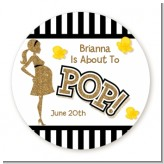 About To Pop Gold Glitter - Round Personalized Baby Shower Sticker Labels