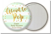 About To Pop Gold - Personalized Baby Shower Pocket Mirror Favors