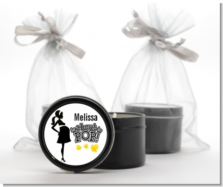About to Pop Mommy Black - Baby Shower Black Candle Tin Favors