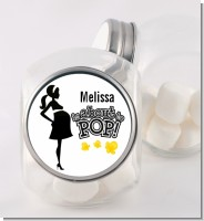 About to Pop Mommy Black - Personalized Baby Shower Candy Jar