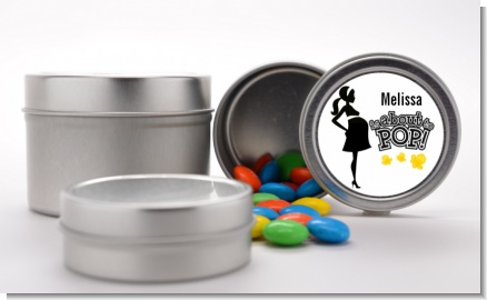 About to Pop Mommy Black - Custom Baby Shower Favor Tins