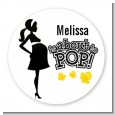 About to Pop Mommy Black - Round Personalized Baby Shower Sticker Labels thumbnail