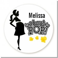 About to Pop Mommy Black - Round Personalized Baby Shower Sticker Labels