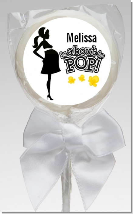 About to Pop Mommy Black - Personalized Baby Shower Lollipop Favors