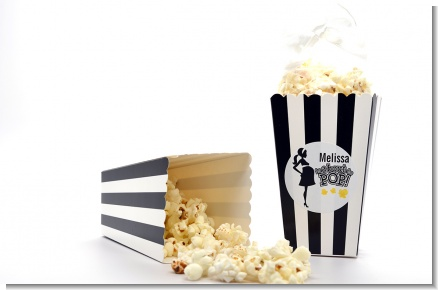 About to Pop Mommy Black - Personalized Baby Shower Popcorn Boxes - Set of 12