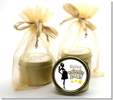 About To Pop Mommy Gold - Baby Shower Gold Tin Candle Favors