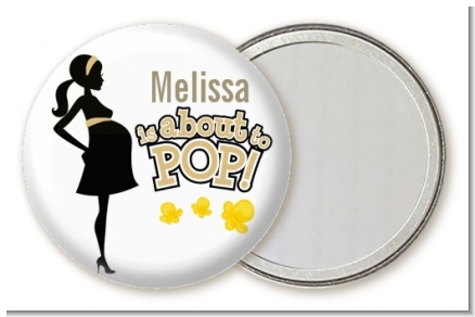 About To Pop Mommy Gold - Personalized Baby Shower Pocket Mirror Favors