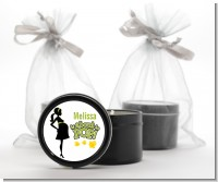 About To Pop Mommy Green - Baby Shower Black Candle Tin Favors