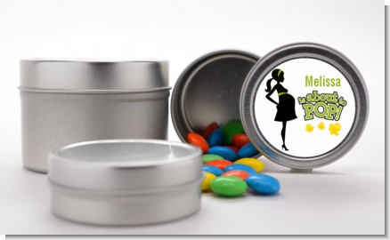 About To Pop Mommy Green - Custom Baby Shower Favor Tins