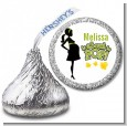 About To Pop Mommy Green - Hershey Kiss Baby Shower Sticker Labels thumbnail