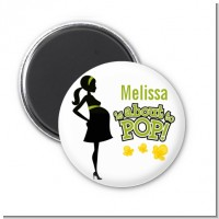 About To Pop Mommy Green - Personalized Baby Shower Magnet Favors
