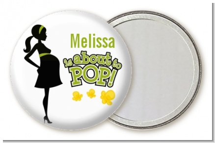 About To Pop Mommy Green - Personalized Baby Shower Pocket Mirror Favors