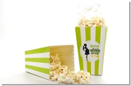 About To Pop Mommy Green - Personalized Baby Shower Popcorn Boxes - Set of 12