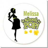 About To Pop Mommy Green - Round Personalized Baby Shower Sticker Labels