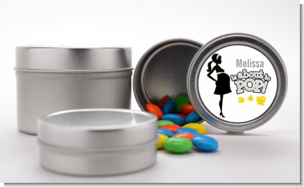 About To Pop Mommy Grey - Custom Baby Shower Favor Tins