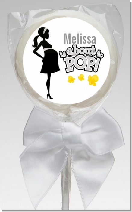 About To Pop Mommy Grey - Personalized Baby Shower Lollipop Favors